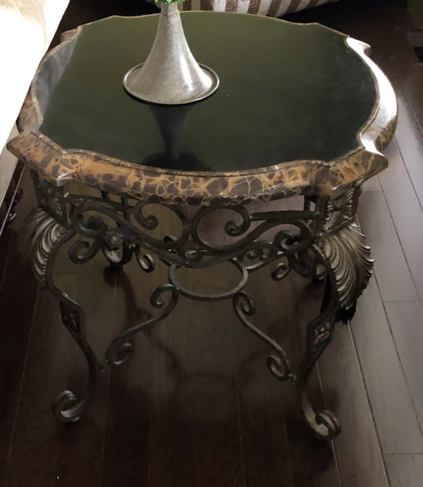 Marble wrought iron table