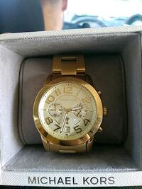 round gold Michael Kors chronograph watch with link bracelet Anaheim, 92802