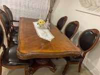 Dining table real wood & leather