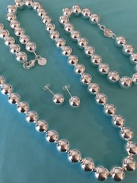 HeardWare Ball Stamped 925 Silver Tiffany & Co. Look-a-like Necklace Earring bracelet Set w/ Gift Box  1952 mi