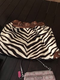 black and white zebra print leather shoulder bag Surprise, 85379