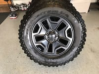 Jeep Wrangler JK set of 5 wheels/tires.  BF Goodrich Mud Terrain LT255/75R17, about 85% tread left, good condition   Centreville, 20121