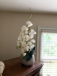 Beautiful silk flower moon orchid with center bamboo in silver potted vase. Gastonia, 28056