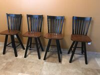 four brown/Black wooden bar stools LASVEGAS