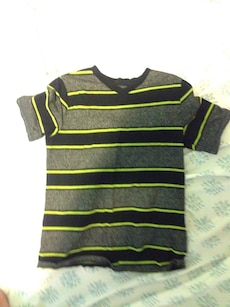 grey, black and green stripe v neck shirt