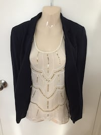 Sleek sheet glitter top with Navy RW co blazer  Toronto, M5H 2S8