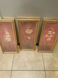 three brown wooden framed painting of flowers Los Angeles, 90047