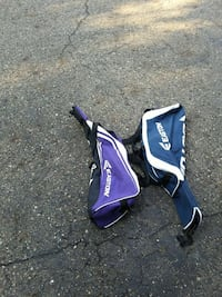 two purple and blue baseball bags Canton