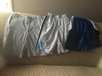 two white and blue Nike shorts