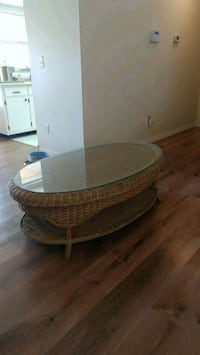 Glass top wicker coffee table Fort Myers