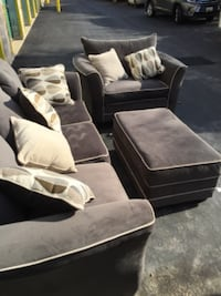 Grey suede 3-seat sofa chair and ottoman  27 km