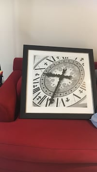Black wooden framed painting of roman numeral clock Herndon, 20171