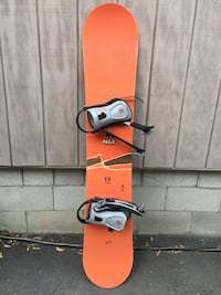 Orange and Black MLY EX 158 Snowboard Made in Oregon with Firefly Boot Bindings Oshawa, L1G 5N5