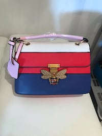 pink and blue leather crossbody bag Sunrise, 33351