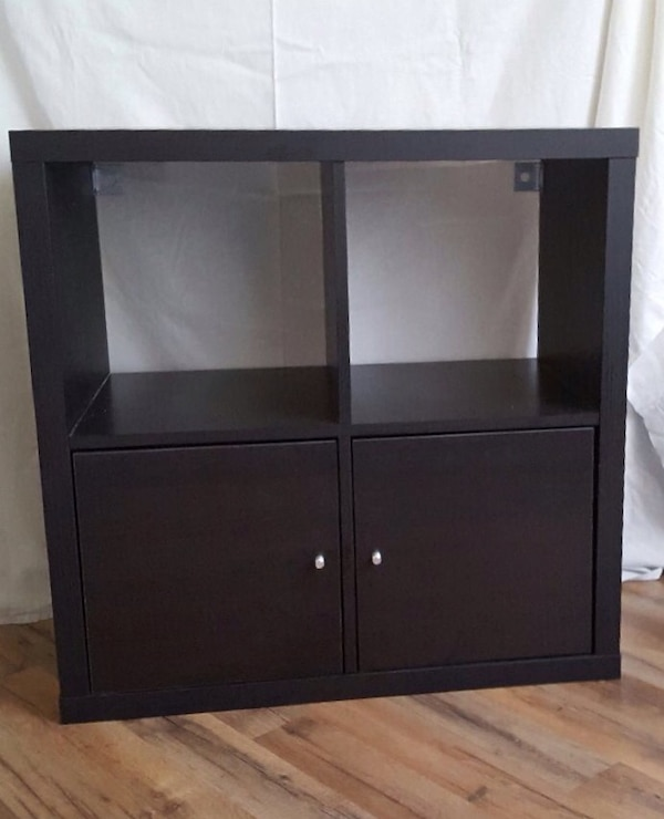 Used Ikea Kallax 4 Shelving Unit Black Brown With 2 Doors Insert For In Los Angeles Letgo