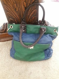 green, blue and brown leather tote bag