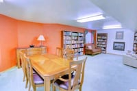 Cherry dining room set: table, granite sideboard, wide chairs