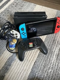 Red/Blue Nintendo Switch with Pro Controller.