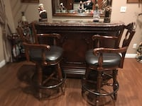 Beautiful Antique solid wood Bar with two swivel chairs Mississauga