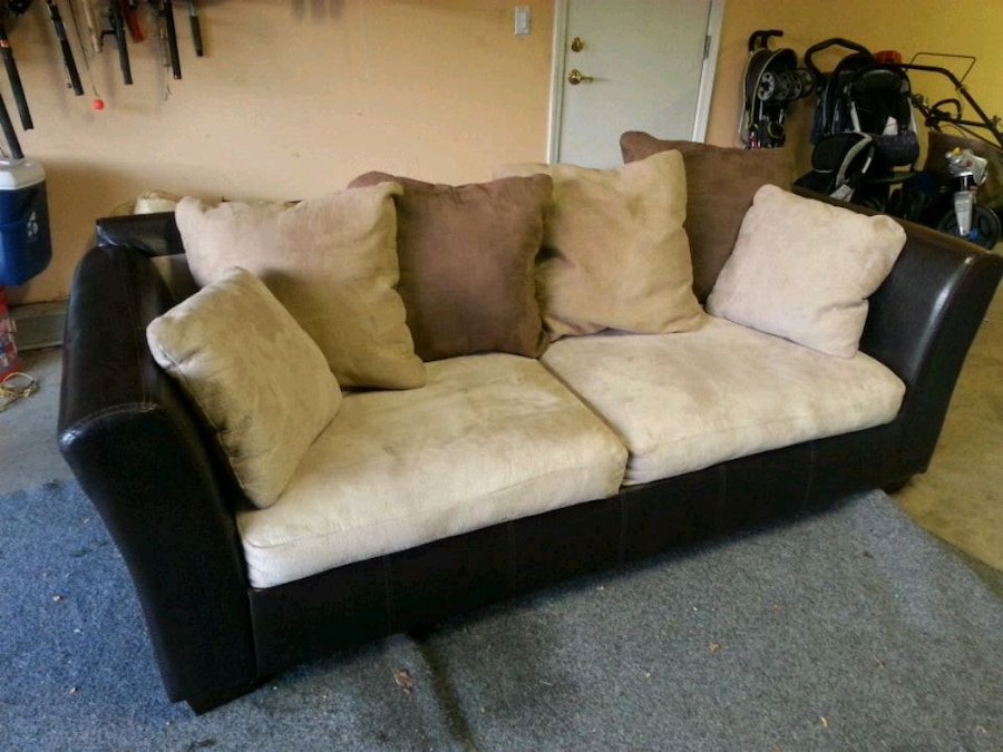 Brown And Black Fabric Couch