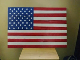 Hand Made Pallet Wood American Flag.