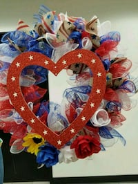 red and blue floral wreath Whittier, 90604