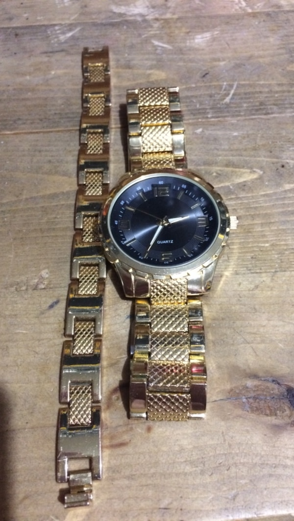 Matching gold watch and bracelet