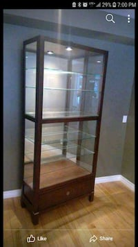 brown wooden framed glass display cabinet Toronto, M1L 4S1