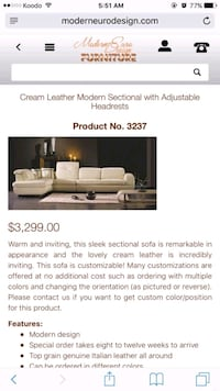3299+ tax Modern leather sectional. Free delivery. Oakville, L6K