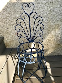 Wrought iron plant stand. Recently painted a caulk blue Winnipeg, R3P 2R5