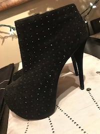 Black suede heels with stones. Bought in LV. Worn twice. Size 8.5 Calgary, T2Y 4J3