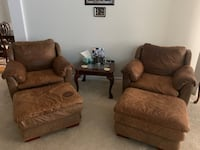 Real Leather couch & chair set with foot stools. Monroe, 30656