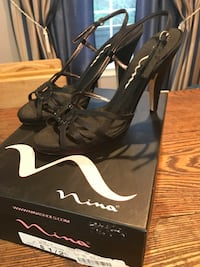 Ladies High Heel Black Nina 8 1/2 Leather Shoes 878 mi
