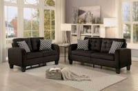 Sinclair Chocolate Sofa & Loveseat with Pillows   Houston, 77036