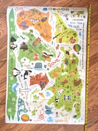 Kids Educational Removable World Map Peel and Stick Large Wall Decals Stickers for Children Nursery Bedroom Living Room West Palm Beach, 33401