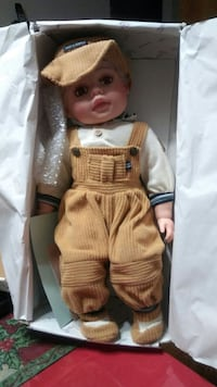 baby doll in white long-sleeve shirt and brown corduroy overalls Dover, 17315