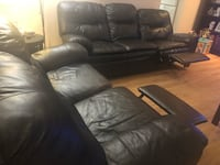 black leather 3-seat recliner sofa 23 km