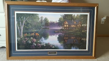 body of water between trees and house painting wit