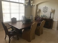 rectangular brown wooden table with six chairs dining set Windermere, 34786