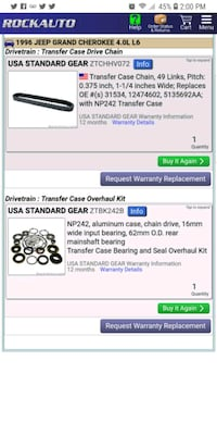 Rebuild kit and chain for np 242 for jeep 4.0 gran 533 mi