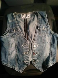 gray denim vest