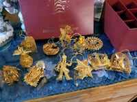 Set of 12 - 2003 Gold Christmas Ornaments Collection by Danbury Mint w Salem, 03079