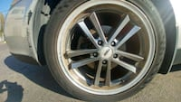 gray 5-spoke car wheel with tire Surrey, V3T 2X3