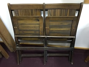 Vintage antique? Grandstand Style 2-up Folding Solid Wood Seats Chairs