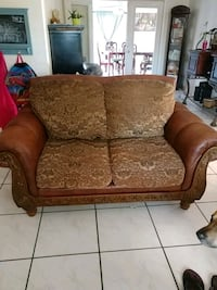 brown and beige leather loveseat Orlando, 32835