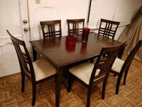 rectangular brown wooden table with four chairs dining set Annandale, 22003