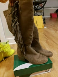 brown suede knee-high boots with suede fringe 27 mi
