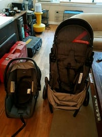 baby's black and red travel system