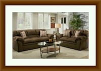 Chocolate fabric sofa and loveseat free delivery Temple Hills