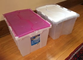 Two Plastic Storage Bins -Measurements in inches 22x16x13 and 21x15x13